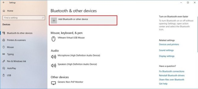 Bluetooth & other device settings