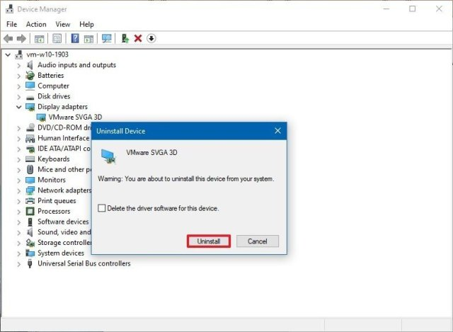 Device Manager delete driver option