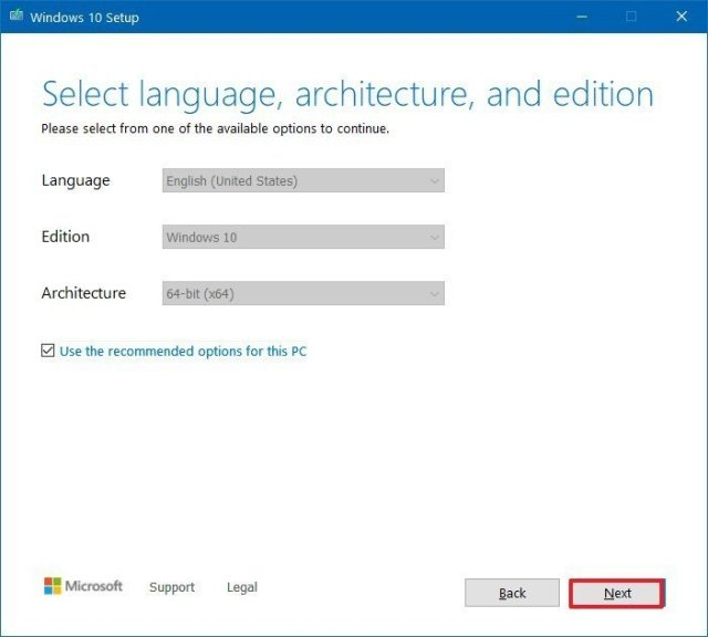 Media Creation Tool Windows 10 installation settings