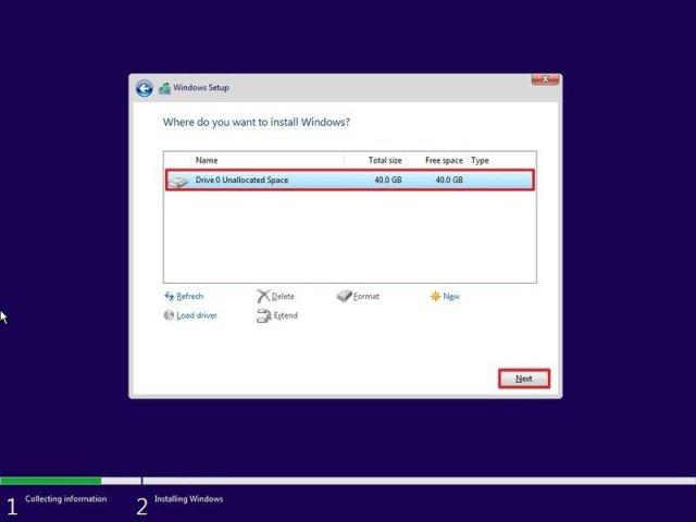 Begin clean install of Windows 10