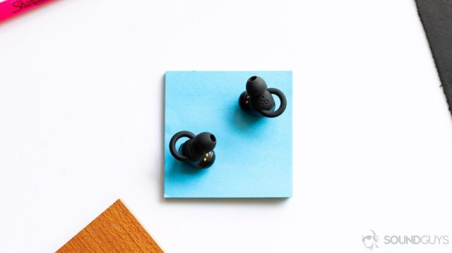 An aerial photo of the 1More Stylish true wireless earbuds to show off the O-hooks.