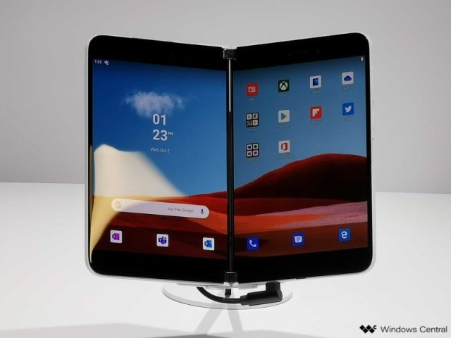 Surface Duo unfolded on display