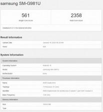 US versions: Samsung Galaxy S20