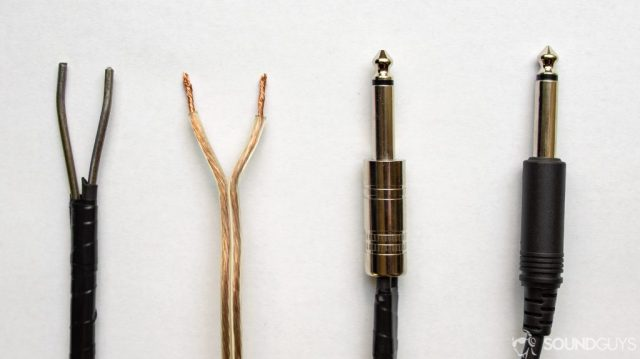 A photo of two speaker wire terminations, and two TS plug terminations for headphone amp.