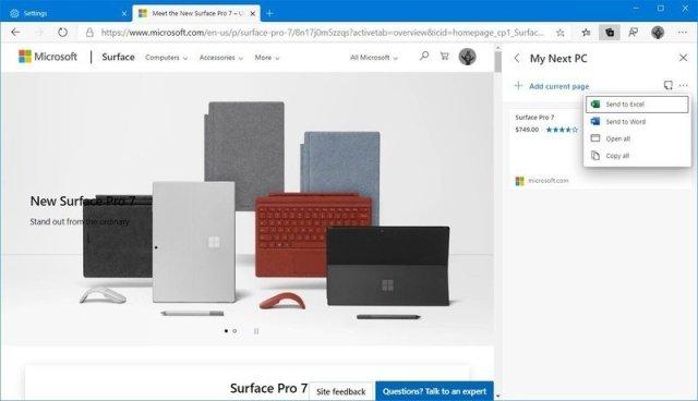 Microsoft Edge Chromium collections feature