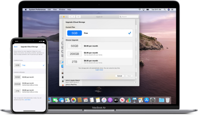 iCloud Pricing Plans on iPhone and Mac