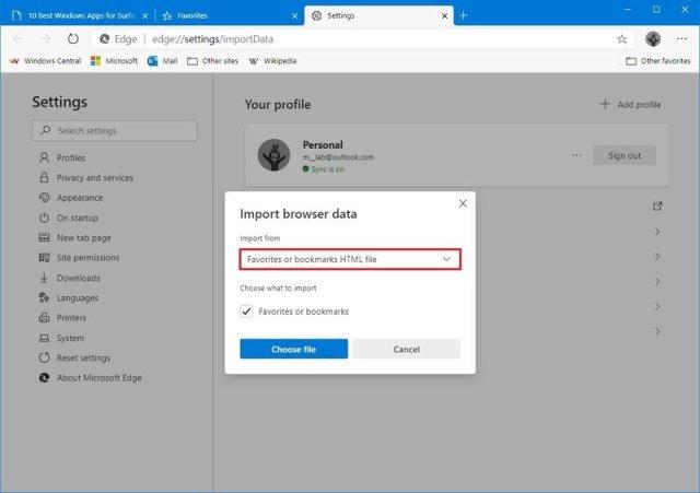 Microsoft Edge import browsing settings