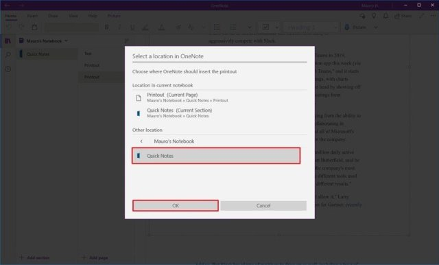 OneNote save web page from Edge