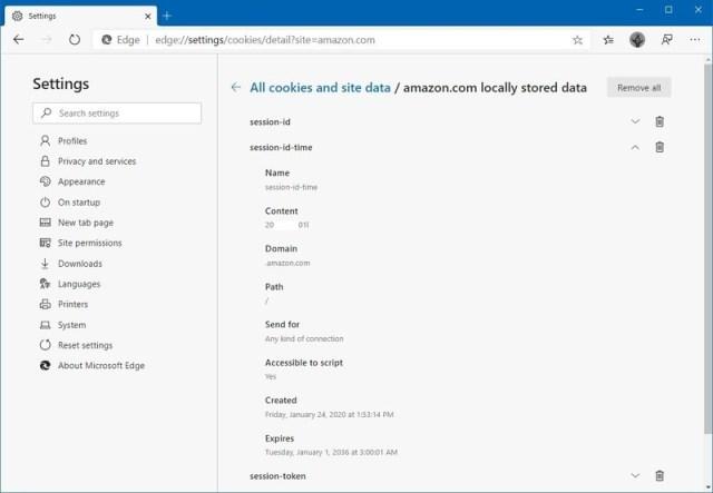 Microsoft Edge cookie details