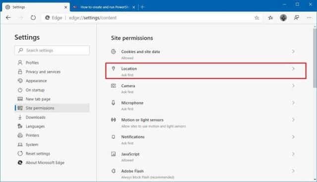 Microsoft Edge location permission option