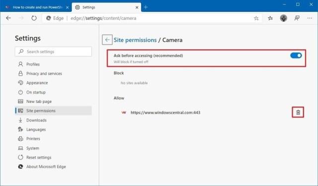 Microsoft Edge single permission settings
