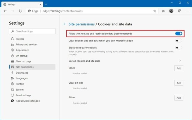Microsoft Edge allow sites to save and read cookies option