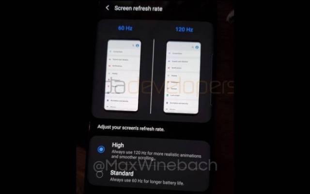 Samsung Galaxy S20+ Screen Refresh Rate