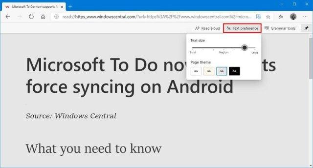 Microsoft Edge Chromium text preferences