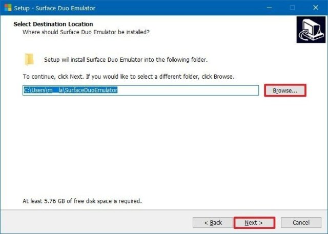 Select Surface Duo emulator files extraction location