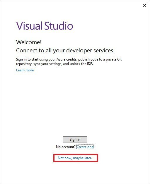 Visual Studio sign in option