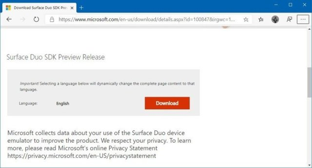 Surface Duo SDK preview download page