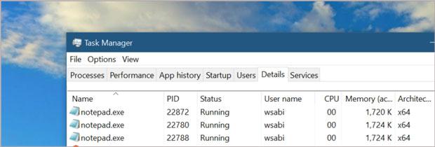 Windows 10 build 19541 – Gestionnaire des tâches