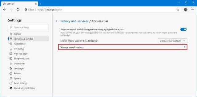 Microsoft Edge manage search engines
