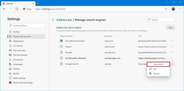 Microsoft Edge remove search engines option