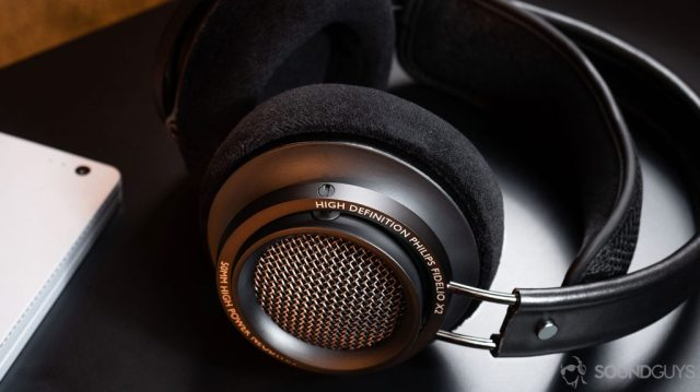A close-up image of the Philips Fidelio X2 open-back, over-ear headphones ear cups and grill.
