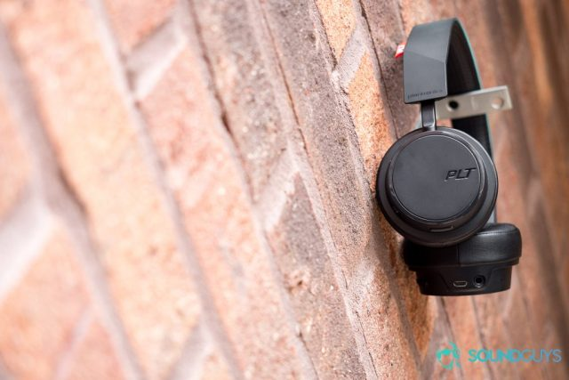 A picture of the Plantronics BackBeat 500 FIT look identical to the BackBeat 500 but feature a P2i water-repellent nano-coating. Pictured: The Plantronics BackBeat 500 FIT hanging on a brick wall.