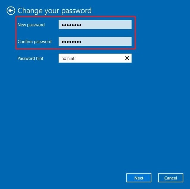 Change local account password on Windows 10