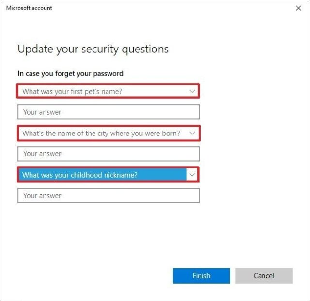 Windows 10 change security questions option