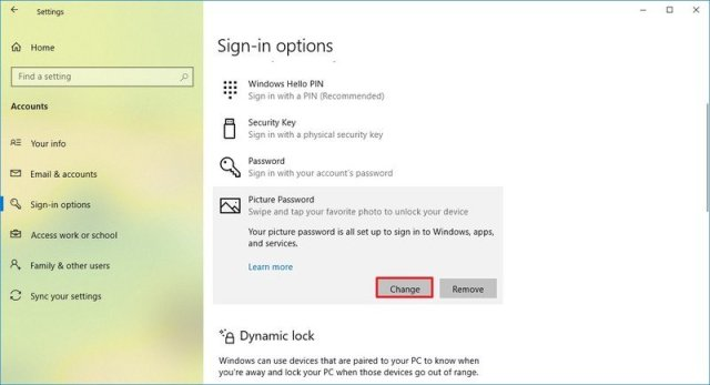 Windows 10 change picture password option