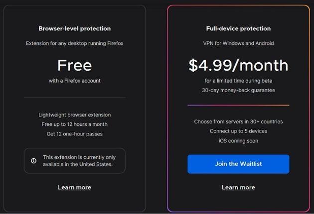 Firefox: le VPN fait ses premiers pas en bêta