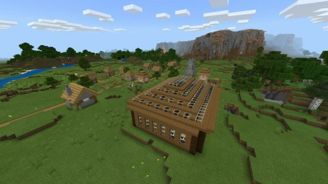 Minecraft village and player house