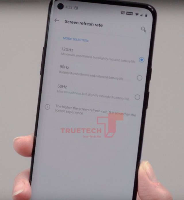 Alleged OnePlus 8 Pro 120Hz setting screen leaks with punch-hole selfie camera