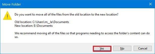 Windows 10 confirm user folder relocation