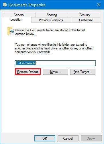 Windows 10 restore default folder location