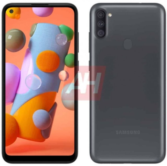 Samsung Galaxy A11 appears in a render with punch hole display and triple camera