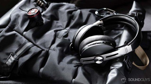 A photo of the Sennheiser Momentum Wireless 3 headphones lying flat on a backpack.