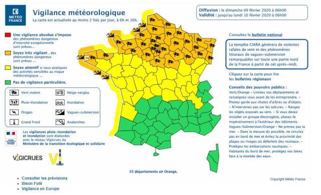 Météo France a placé 35 départements en alerte orange à cause de la tempête Ciara.