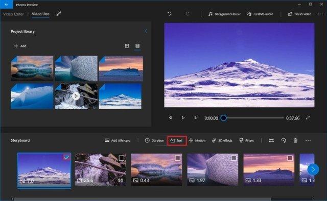 Photos video editor text option