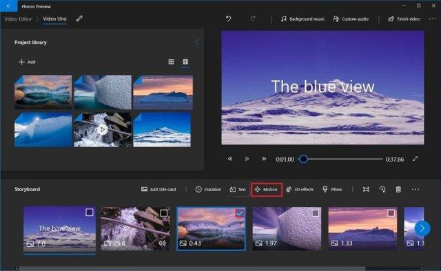 Photos video editor motion option