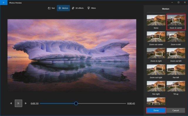 Photos video editor motion settings