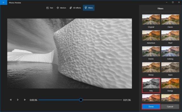 Photos video editor filter selection