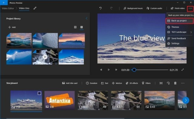 Backup video project using Windows 10 Photos app