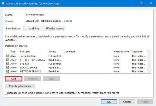 Add user to WindowsApps folder