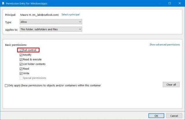 Take ownership of WindowsApps folder folder