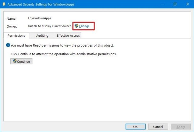 Windows 10 folder advanced security settings