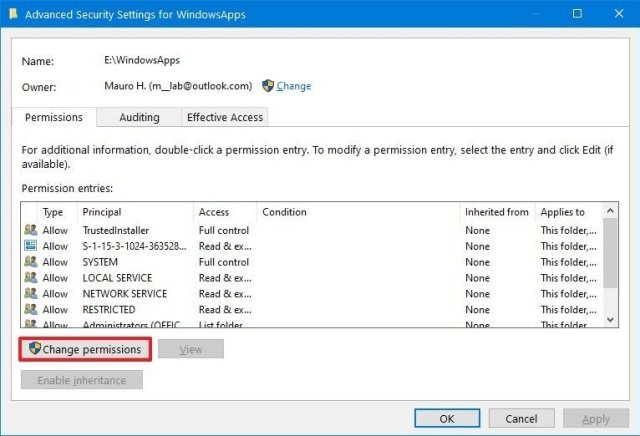 Advanced security settings change permissions button