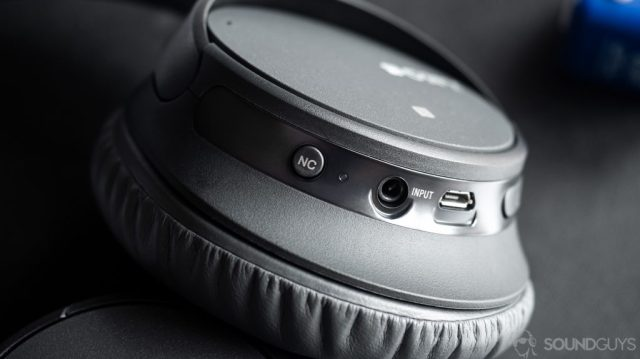 Sony WH-CH700N: The noise cancelling button, 3.5mm input, and microUSB input located on the left ear cup.