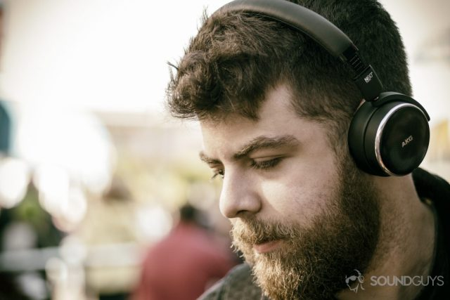 best noise cancelling headphones: A photo of the AKG N60 NC being worn by Adam Molina.
