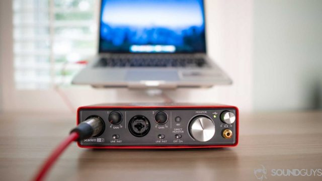 The Scarlett 2i2 USB interface pictured from the front.