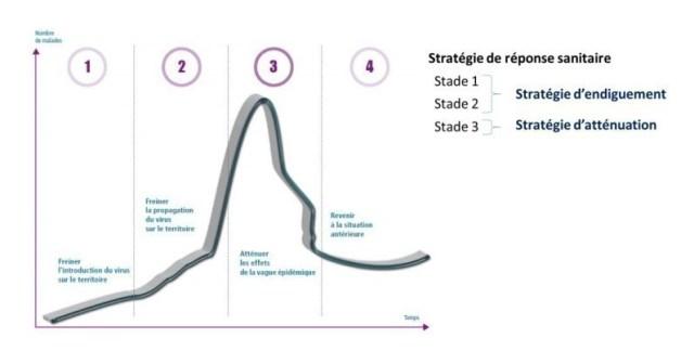 Évolution de l'épidémie et stratégies sanitaires mises en place pour chaque stade.